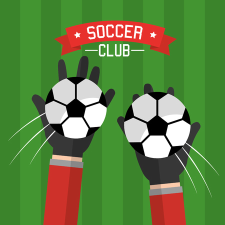 soccer club hands goalkeeper balls competition vector illustration