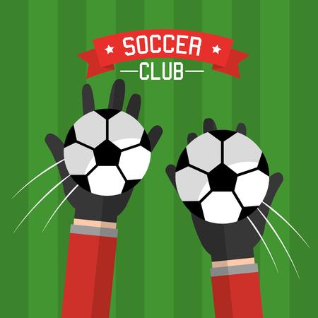 voetbalclub handen doelman ballen concurrentie vectorillustratie