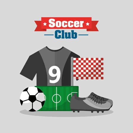 soccer club t shirt sneaker ball field flag equipment vector illustration Ilustracja