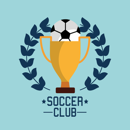 soccer club ball trophy award championship tournament vector illustration Ilustracja