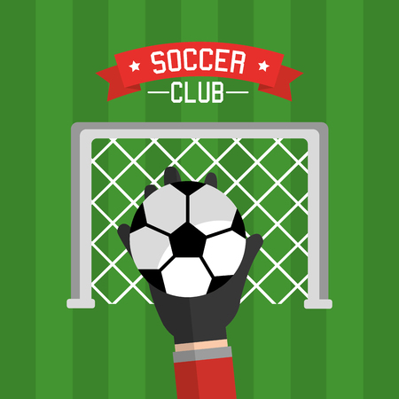 Soccer club hand goalkeeper ball and red vector illustration. Ilustracja