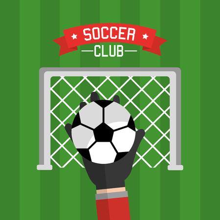 Soccer club hand goalkeeper ball and red vector illustration. Illustration