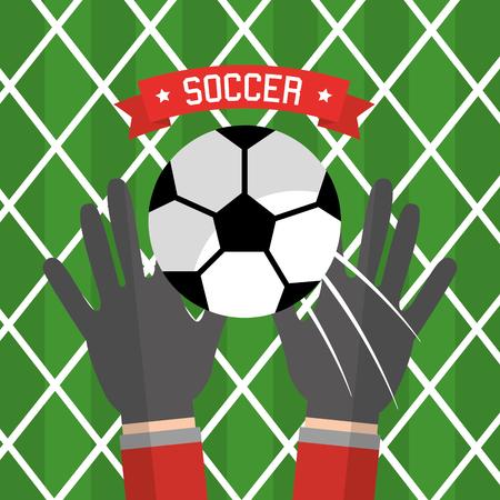 De keeper van de voetbalhand gloves bal rode vectorillustratie Stock Illustratie