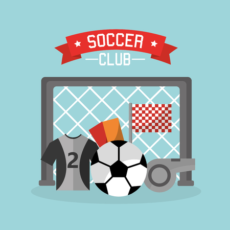 Soccer club goal red ball t shirt cards whistle icons vector illustration Çizim