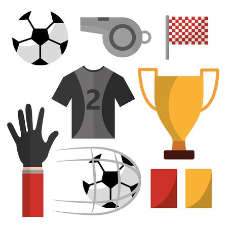 voetbal t-shirt fluiten vlag kaarten bal trofee vector illustratie Stock Illustratie