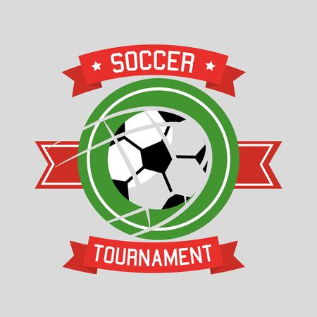 Soccer tournament ball sport banner ribbon vector illustration