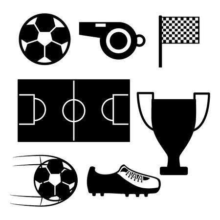 Voetbalveld fluitje vlag sneaker bal trofee pictogram vectorillustratie Stock Illustratie
