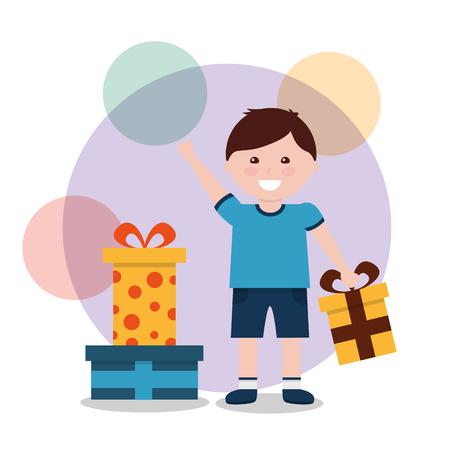 Lustiger Karikaturjunge mit einer großen Geschenkbox in seinen Händen. Vektor Ausschnitt Kunst. Standard-Bild - 93609414