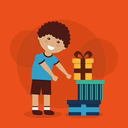 Funny cartoon boy with a big gift box in his hands. Vector cutout art. Stock fotó - 93609419
