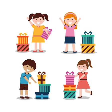 Group of kids with nicely wrapped gift boxes vector illustration