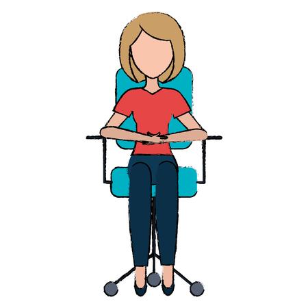 businesswoman in office chair vector illustration design Vectores