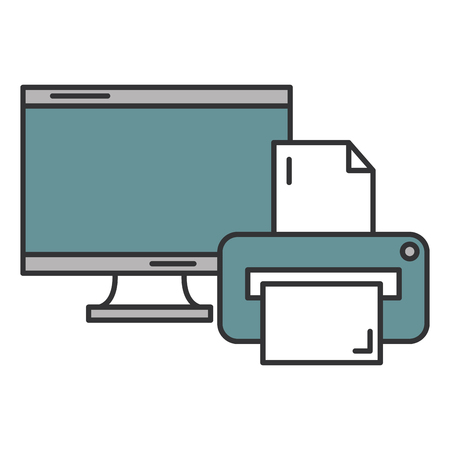 monitor computer with printer vector illustration design