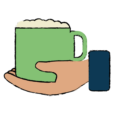 hand with coffee cup vector illustration design 向量圖像