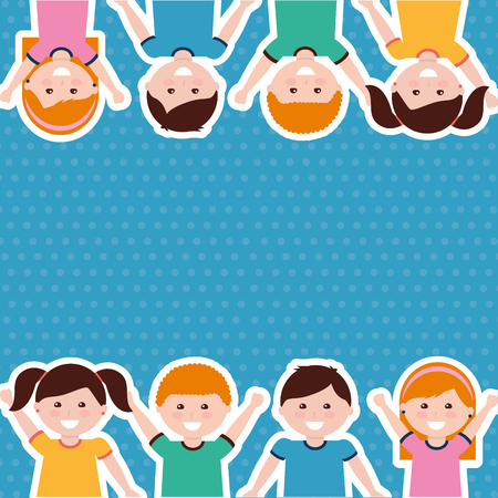 cute cartoon kids people border vector illustration