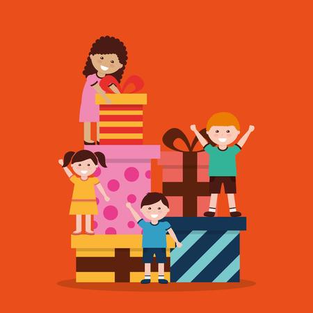 素敵に包まれたギフトボックスベクトルイラストを持つ子供たちのグループ  イラスト・ベクター素材