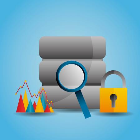data server magnifier search graph security vector illustration Ilustração