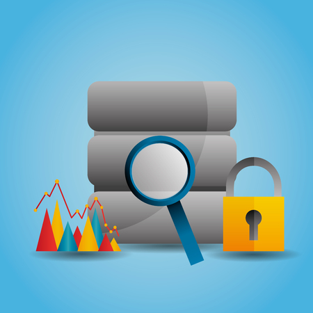 data server magnifier search graph security vector illustration Illustration