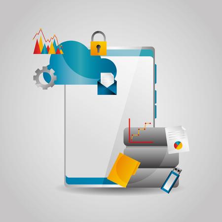 mobile phone data cloud file usb email vector illustration Illustration