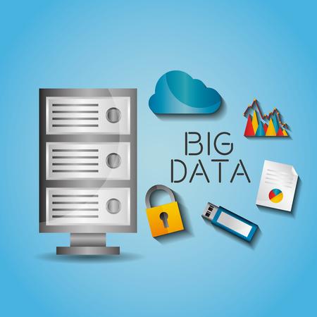 Big data server protection cloud. Usb, document vector illustration. Illustration