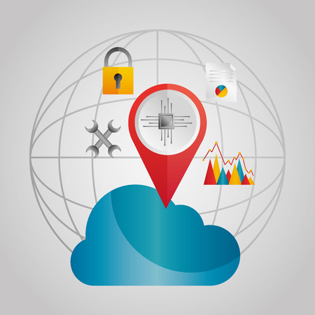 Global cloud data storage pointer tools vector illustration