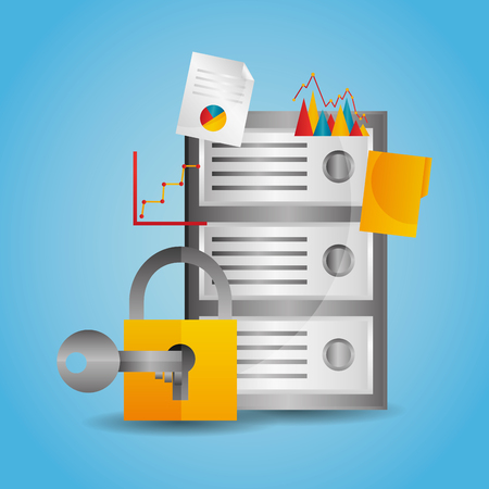 Data center server protection padlock key vector illustration