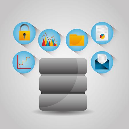 Data server center email graph folder protection technology vector illustration