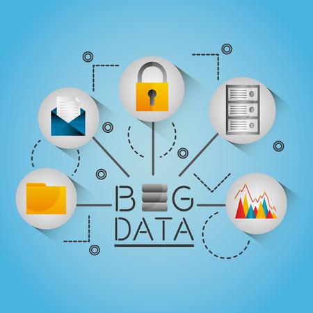 Big data-informatiestromen netwerk vectorillustratie