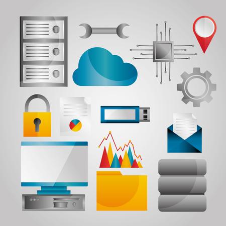 Data analysis database network technology settings icons set vector illustration Çizim