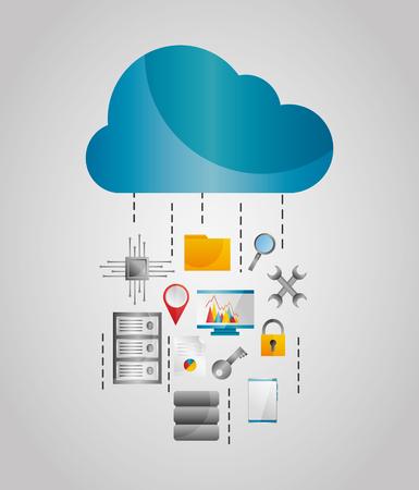 Cloud data streams storage file protection tools vector illustration 일러스트