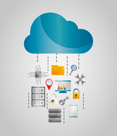 Cloud data streams storage file protection tools vector illustration Ilustração