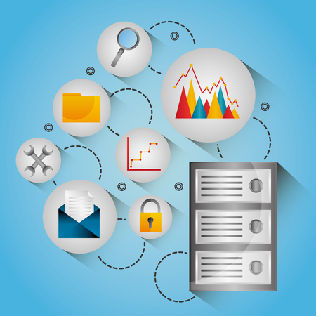Database center diagram protection network icons vector illustration