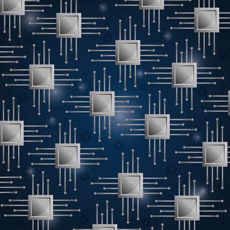 マイクロチップ素子ベクトルイラストの回路基板シームレスパターン背景