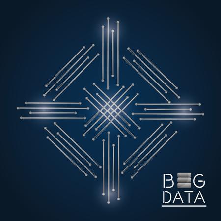 데이터베이스 프로세스 추상 회로 구조 분석 벡터 일러스트 레이션