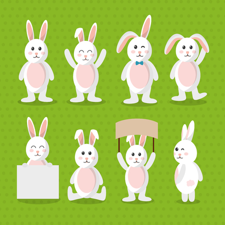 cute bunny animal furry cartoon pattern vector illustration