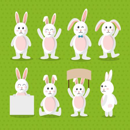 cute bunny animal furry cartoon pattern vector illustration