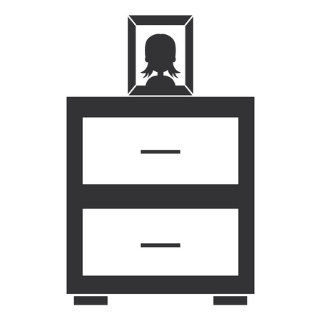bedroom drawer with portrait vector illustration design Illustration