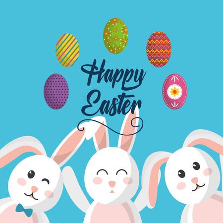 Happy Easter cute rabbit advertising poster vector illustration