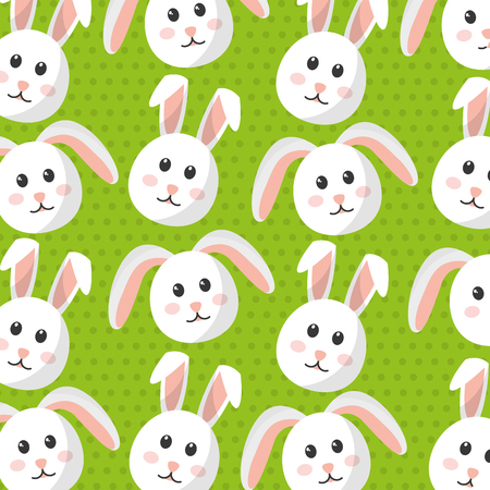 Cute bunny animal furry cartoon pattern vector illustration. Çizim
