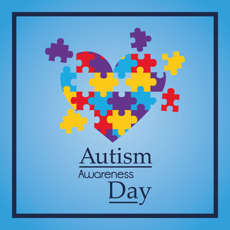 An autism awareness day colorful puzzle heart shape vector illustration Illustration