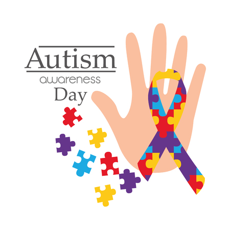 Autism awareness day card with hand puzzle shape ribbon vector illustration