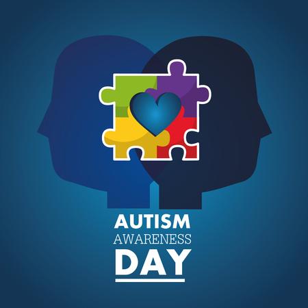 Autisme bewustzijn dag profiel hoofden met puzzel kleur vectorillustratie Stock Illustratie