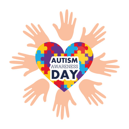 Autism awareness day with open hands and heart with puzzles vector illustration