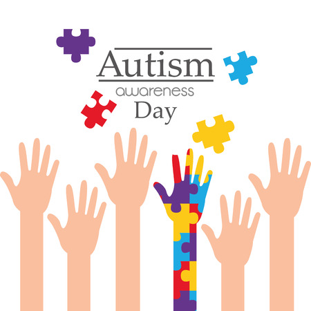 Autism awareness day raised hands support campaign vector illustration.