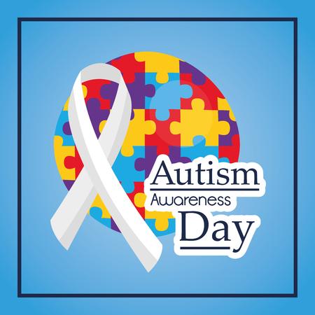 Autisme bewustzijn dag lint medische hulp evenement vectorillustratie