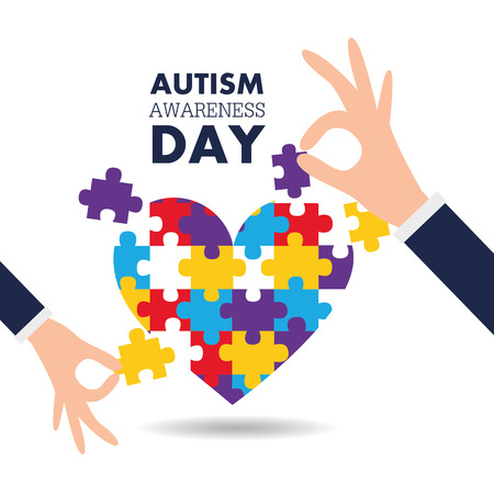 Autism awareness day with hands and puzzle pieces heart vector illustration