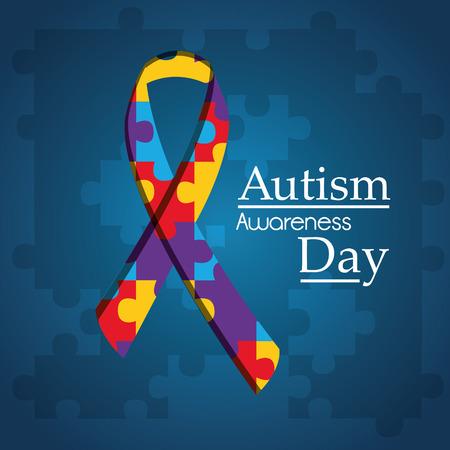 Autism awareness day puzzle shape ribbon blue background vector illustration