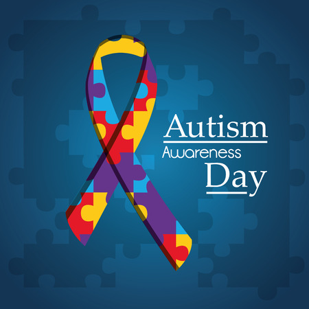 Autism awareness day puzzle shape ribbon blue background vector illustration