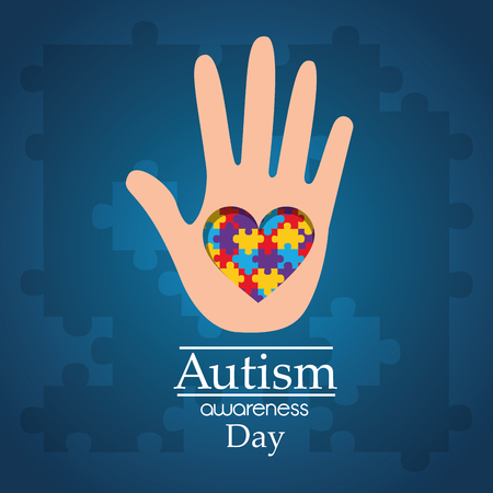 Autism awareness day hand with puzzle heart care disease vector illustration