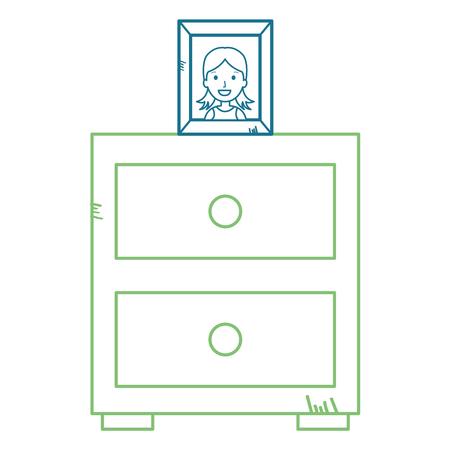 Bedroom drawer with portrait vector illustration design