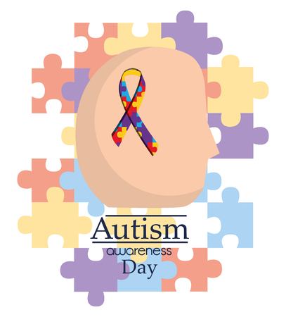 Autism awareness day human head with ribbon support medical vector illustration